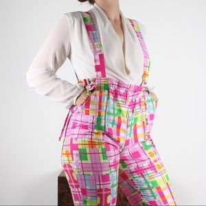 Vibrant patchwork overalls